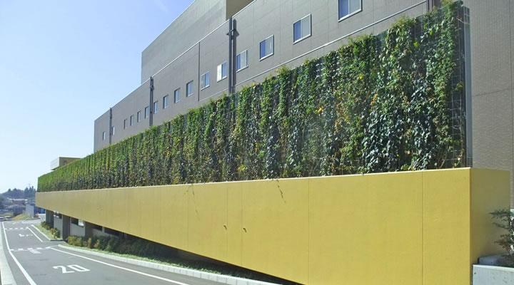 施工実績:王禅寺処理センター「リサイクルパークあさお」壁面緑化