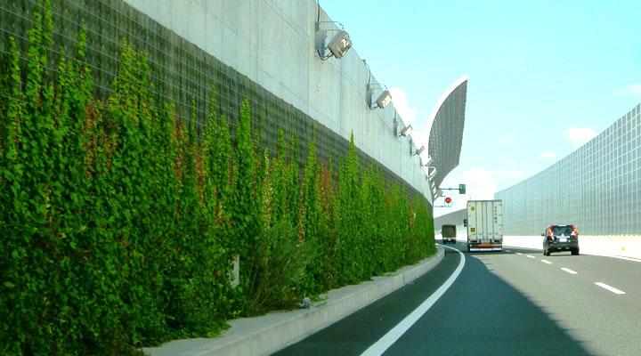施工実績:名古屋第二環状自動車道「名二環」 壁面緑化