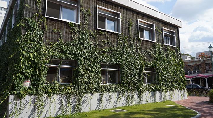 施工実績:鶴舞公園前自転車置場 壁面緑化