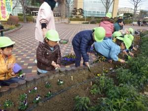 中部保育園と花植替え